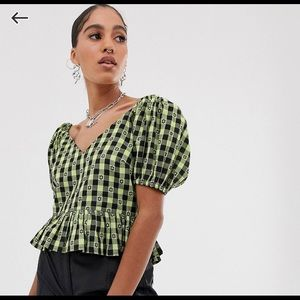 ASOS collusion gingham short sleeve top
